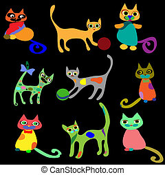 Collection vector cats. Isolated on black background.