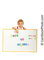 Schoolboy pointing to message
