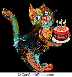 Cute cartoon cat with cake. Vector illustration on a black background.