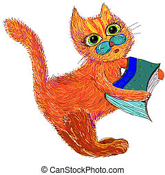 Cute cartoon cat with a book. Vector illustration on a white background.