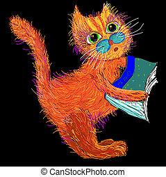 Cute cartoon cat with a book Vector illustration on a black...