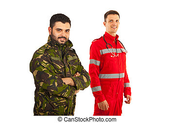 Happy soldier and paramedic