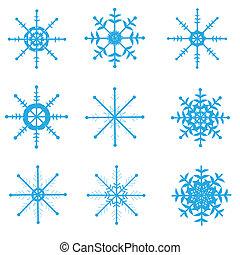Set of snowflakes, white background