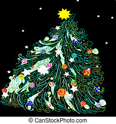 Christmas tree on black background. Vector illustration.