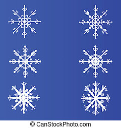 Set of snowflakes on a blue background. Vector.