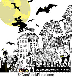 Ink sketch halloween background. Vector illustration.