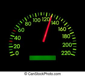 Speedometer showing 130 glowing green