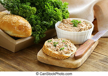 chicken liver pate with parsley - homemade meat snack...