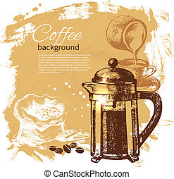 Hand drawn vintage coffee background