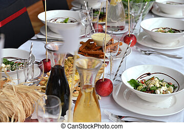 food and drink - Table set for an event reception. food and...