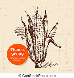 Hand drawn vintage Thanksgiving Day illustration