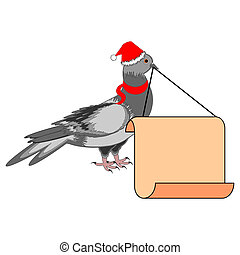 A Christmas dove with a big blank paper in his beak...