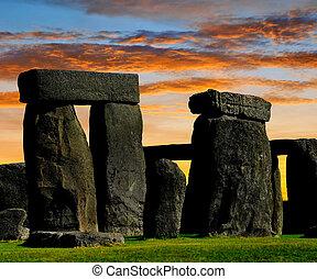 Stonehenge - Historical monument Stonehenge in the sunset,...