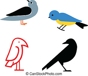 Birds - Stylized birds, vector illustration