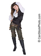 Pirate - young woman isolated on white