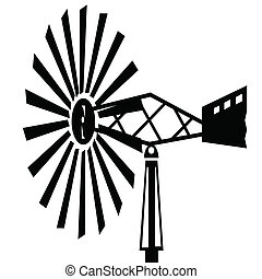 Old Windmill - black silhouettes Old Windmill for your...