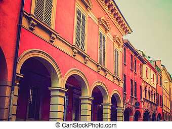 Vintage looking Bologna Italy - Retro looking Portici di Via...