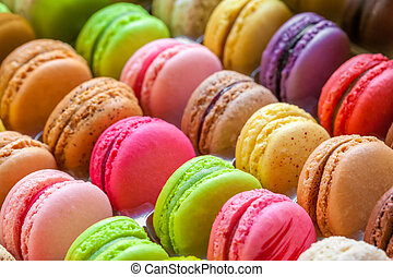 traditional french colorful macarons in a box - traditional...