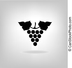 Black silhouette of grapes Vector illustration