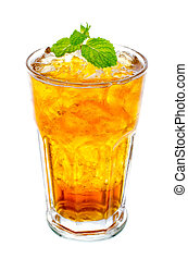 glass of ice tea with mint on white background - Fresh and...