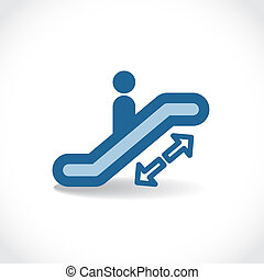 escalator - Escalator icon with drop shadow, vector...