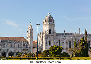 "historic monastery ""Mosteiro dos Jeronimos"" of Lisbon in..."