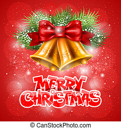Merry Christmas greeting - Merry Christmas card with golden...