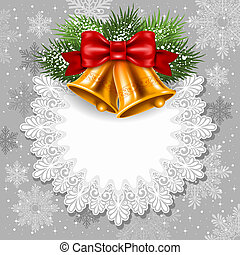 Christmas greeting - Merry Christmas card with golden jingle...