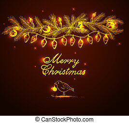 Shining garland and bird - Christmas vector background with...
