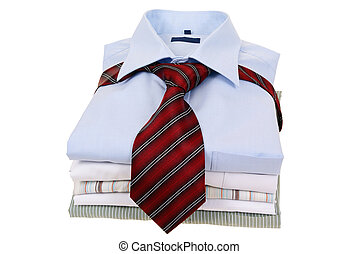 shirts - mens shirts tied with tie isolated on white...