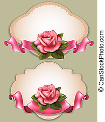 Greening cards - Vintage greeting cards with gentle pink...
