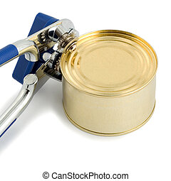 tin with opener over white background
