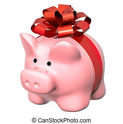 Piggy bank with bow - Piggy bank and gifts Isolated on white...