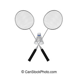 Badminton Rackets and a Shuttlecock isolated on white...