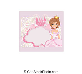 decorative frame with beautiful princess and pink castle