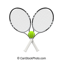 Tennis Rackets and Ball isolated on white background 3D...