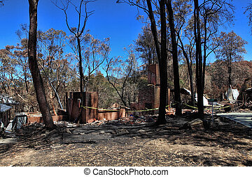 After Bushfires homes razed - Houses caught up in bushfires...