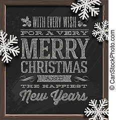 Christmas greetings on chalkboard - Christmas vector...