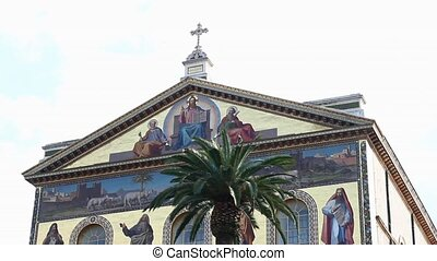 Saint Paul basilica in Rome - Saint Paul basilica facade,...