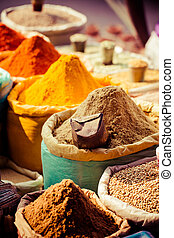 Traditional spices and dry fruits in local bazaar in India