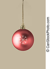 Red Bauble with Glittery Snowflake - A single red bauble,...
