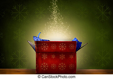 Opened Christmas Gift Box with Glow and Sparkling Stars - An...
