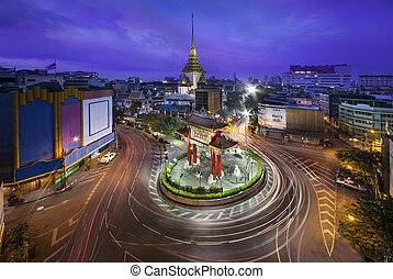 Traffic,Chinatown,Bangkok,Thailand - China gate or Royal...