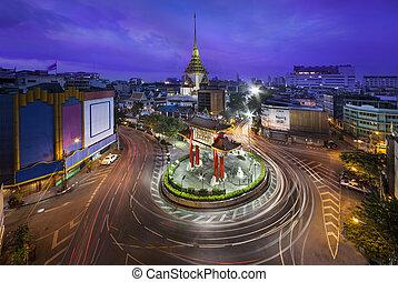 Traffic,Chinatown,Bangkok,Thailand - China gate or Royal...
