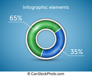 Infographic elements. Pie chart, round progress bar on blue...