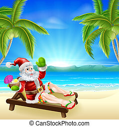 Summer Christmas Santa Beach Scene - Christmas illustration...