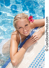Pretty women in pool Top view of attractive young women in...