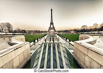 The Eiffel Tower, Paris. View from Trocadero Gardens on a beauti