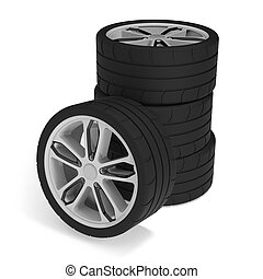 Stack of racing car wheels on white background