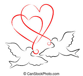 Doves and hearts - abstract illustration for a decoration...